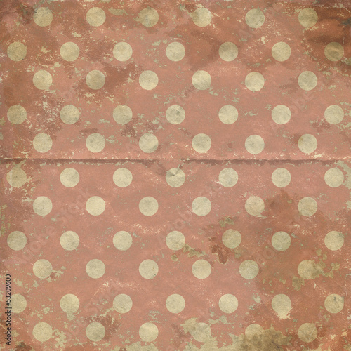 Vintage polka dots background, grunge folded old paper texture