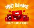 Crazy clearance banner with shopping bags