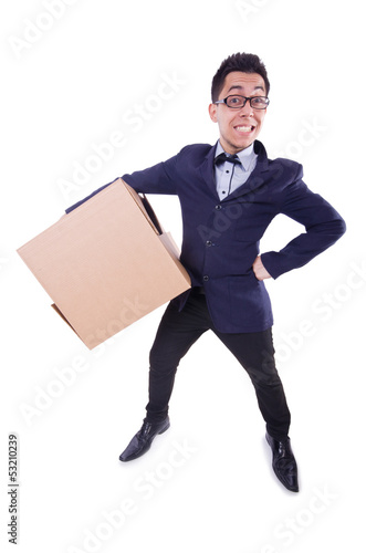 Funny man with box on white