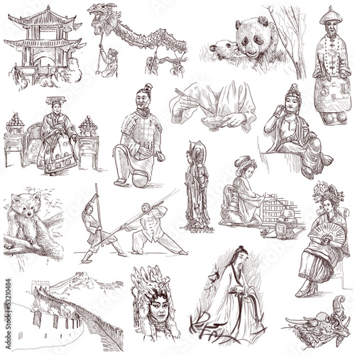 Chinese collection - full sized hand drawings on white
