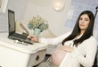 Beautiful Pregnant Woman Shows Belly Work Desk Working Laptop