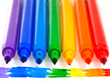 seven rainbow colored felt pens