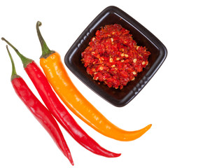 pods of different peppers and spicy sauce