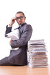 Busy businessman with lots of papers