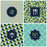 Restaurant menu seamless patterns. Vector set