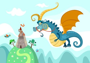 illustration of a dragon with castle