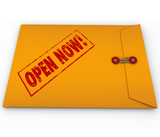 Open Now Yellow Envelope Urgent Critical Information poster