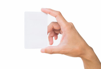 Business card in female hand.