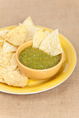 Fresh Homemade Salsa Verde with tortilla chips