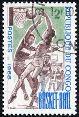 stamp printed by Congo, shows Women Basketball