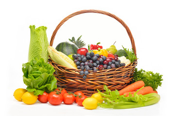 fruits and vegetables in basket isolated on white