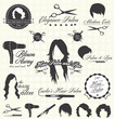 Vector Set: Retro Hair Salon Labels and Icons - 53214645