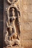 Hindu goddess on the wall in India