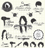 Fototapety Vector Set: Retro Hair Salon Labels and Icons