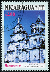 stamp shows the church of the compilation in Leon