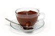 Hot chocolate in glass cup