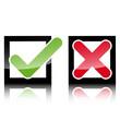 Glossy Keuz Haken Icons im Quadrat