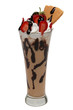 Milkshake with strawberries and chocolate syrup in glass cup