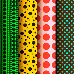 Seamless patterns, polka dots set, vector Eps 10 illustration.