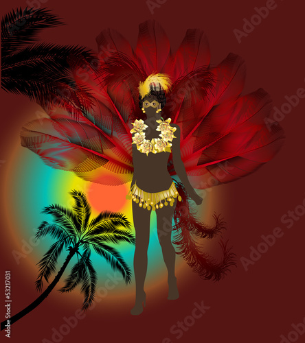 woman in red feathers at carnival