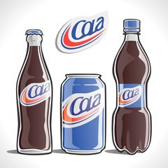 Cola in a variety of containers