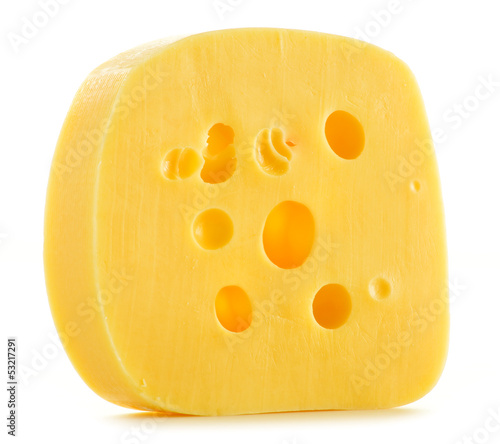 Fresh cheese isolated on white