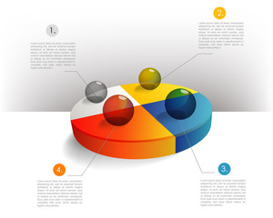 Pie chart diagram for infographics.