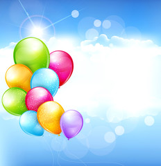 vector holiday background with multi-colored balloons flying in