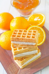 waffle and orange jam