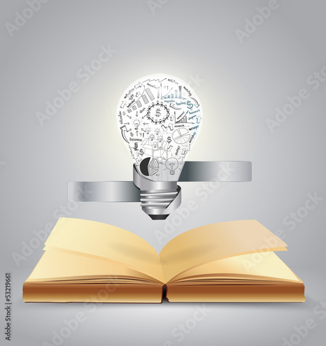 Vector book and light bulb of business concept