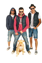 Group of hip hop guys with pitbull dog