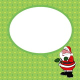 Santa claus  with speech bubble green background vector