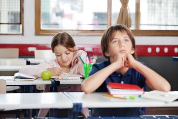 Schoolgirl Writing Notes In Classroom
