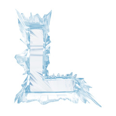 Ice crystal  font. Letter L.Upper case.With clipping path