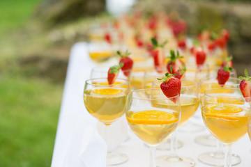 Erdbeercocktails bei Sektempfang