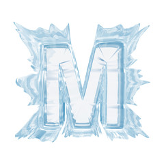 Ice crystal  font. Letter M.Upper case.With clipping path