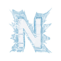 Ice crystal  font. Letter N.Upper case.With clipping path