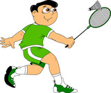 young badminton player