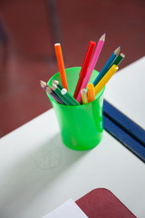 Closeup Of Organizer With Colorful Pencils