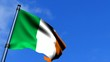 Ireland Flag Waving On Blue Sky HD