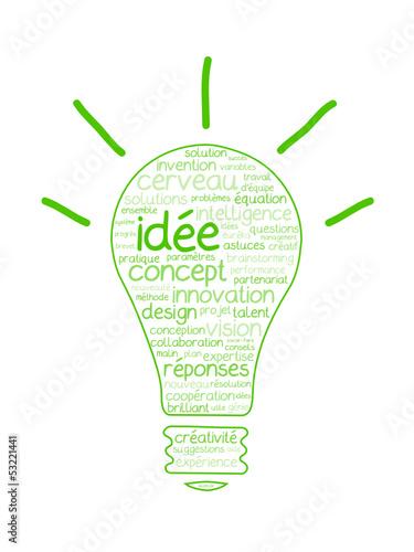 """Nuage de Tags """"IDEE"""" (ampoule électrique idées innovation génie)"""