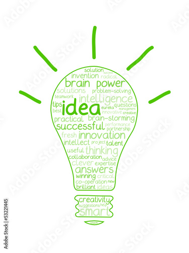 """IDEA"" Tag Cloud (innovation solutions light bulb ideas brain)"