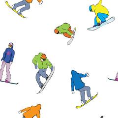 seamless snowboarders