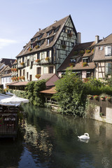"The ""Little Venice"" (la Petite Venise) in Colmar city,  France"
