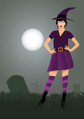 witch in cemetery