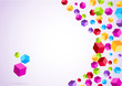 Colorful rainbow cubes form a background