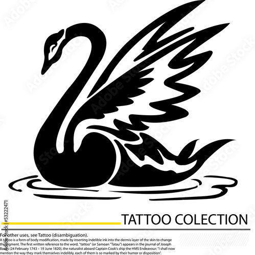 Black swan with crown vector tattoo design