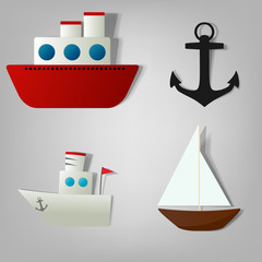 vector icon set ships