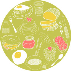 Food icons collected in the circle. Vector illustration set