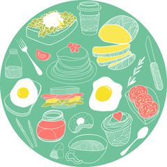 Breakfast elements collected in the circle. Hand drawn vector